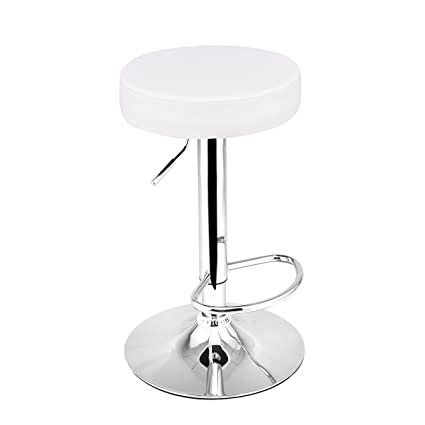 Fine Costway Adjustable Swivel Counter Height Bar Stool Chair With Round Leather Seat Chrome Leg Hydraulic Set Of 1 White Cjindustries Chair Design For Home Cjindustriesco