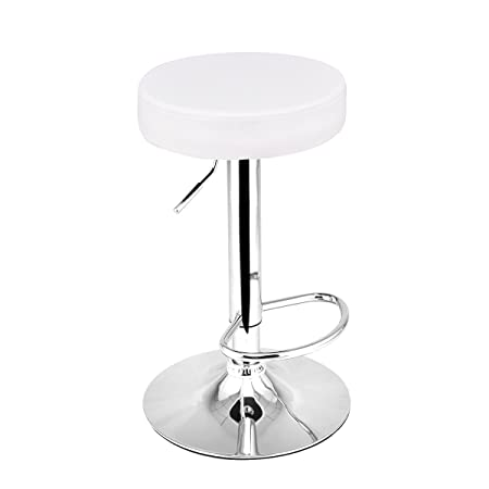 COSTWAY Adjustable Swivel Counter Height Bar Stool Chair with Round Leather Seat Chrome Leg Hydraulic, Set of 1 White