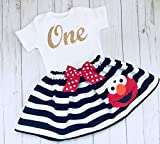 Elmo first Birthday outfit, Elmo inspired black and white striped skirt and Sparkle gold cursive one short sleeve top/onesie