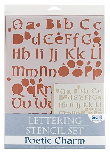 Blue Hills Studio BHS106SET Lettering Stencil Set Poetic Charm