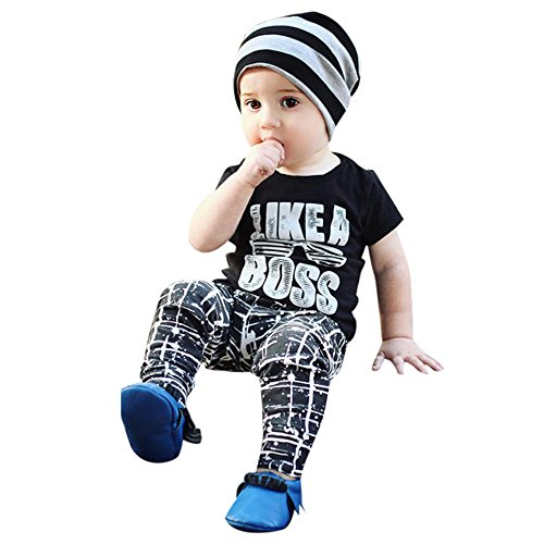 WOCACHI Toddler Baby Boys Clothes, 2PCS Toddler Kids Infant Baby Boy Letter T Shirt Tops Pants Outfits Clothes Set Back to School Easter Egg Costume Parade Bunny Lily Eggs Roll -