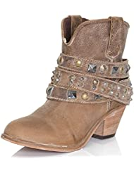 Corral Womens P5020 Ankle Strap Studded Boots Antique Saddle
