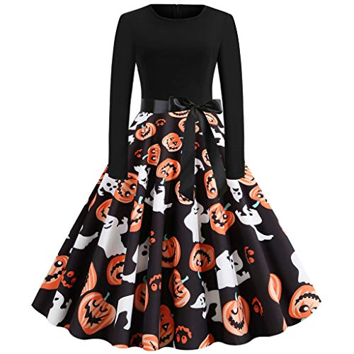 iLOOSKR Women Vintage Long Sleeve Halloween 50s Housewife O-Neck Evening Party Prom Pleated Mid-Calf Dress