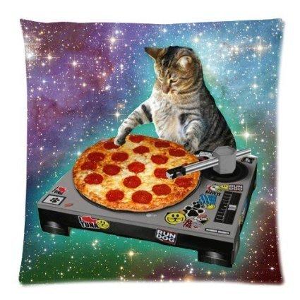 Moslion Food Funny Creative Hipster DJ Cat Pizza Cat Galaxy