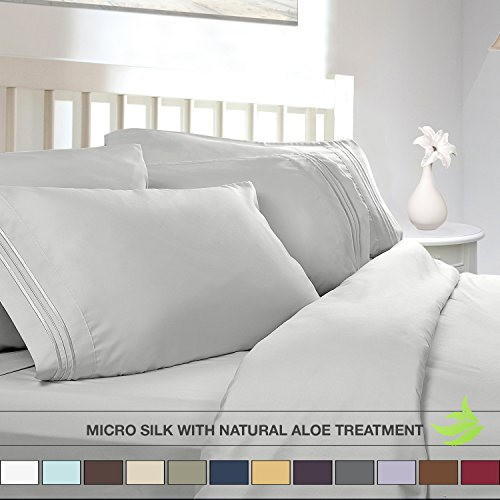 - Luxury Bed Sheet Set - Soft MICRO SILK Sheets - Twin Size, White - with Pure Natural ALOE VERA Skin Soothing Moisturizing Treatment - Healthy Calming Properties Will Make You Have A Relaxed and Refreshed Sleep - Highest Quality with Strong Stitching Will Make Your Sheet Set Last For Many Years - Get the Luxurious Look and Silky Feel No Other Sheet Set can Offer - Clara Clark