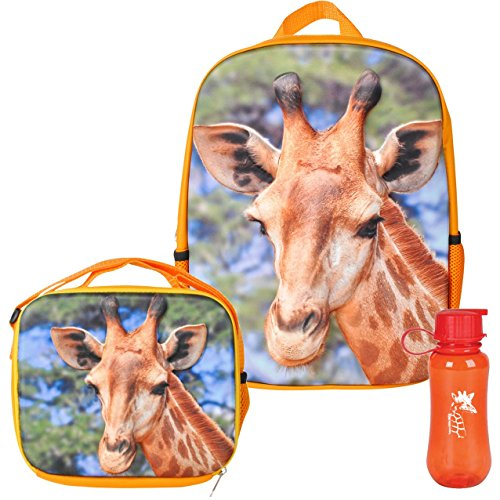 Price comparison product image 3D Safari Giraffe Backpack, Lunchbox, and Water Bottle Back to School
