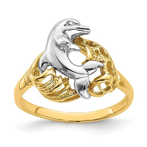 - 14k Two Tone Yellow Gold Dolphin Wave Band Ring Size 6.00 Sea Shell Life Fine Jewelry Gifts For Women For Her