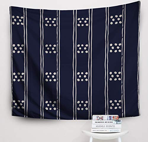 (Crannel Christmas Abstract Background in Dark Blue White Tribal Pattern Fabric Textile Print Simple Folk Tapestry 50x60 Inches Wall Art Tapestries Hanging for Dorm Room Living Home Decorative)