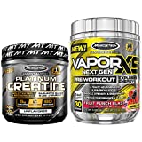 Creatine + Pre Workout Bundle | MuscleTech Platinum Creatine Monohydrate Powder + MuscleTech Vapor X5 PreWorkout, Fruit Punch Blast