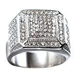 Oakky Men's Stainless Steel Hip Hop Iced Out Cubic Zirconia Square Rings CZ Wedding Bands Silver Size 13