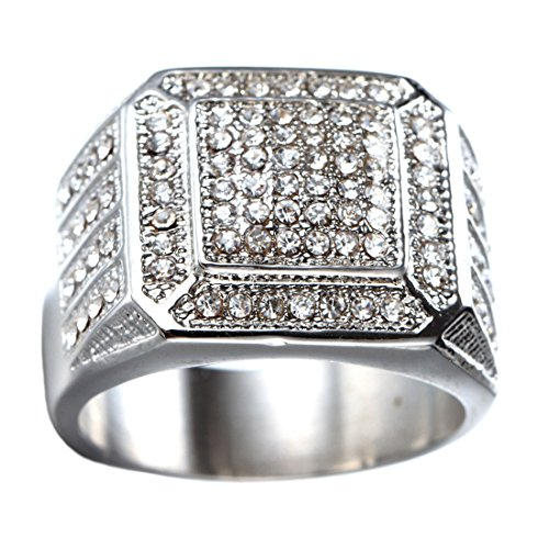 (Oakky Men's Stainless Steel Hip Hop Iced Out Cubic Zirconia Square Rings CZ Wedding Bands Silver Size 13)