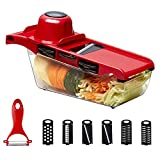 Manual Vegetable Slicer, Uong Kitchen Vegetable Cutter Grater Chopper Shredder with 6 Interchangeable Blades and Peeler for Potato Tomato Onion Carrots Cucumber(Red)
