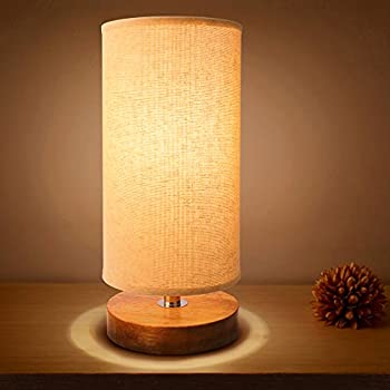 Bedside Table Lamp, Seealle Wood Desk Lamp With Linen Fabric Shade,  Minimalist Nightstand Lamp