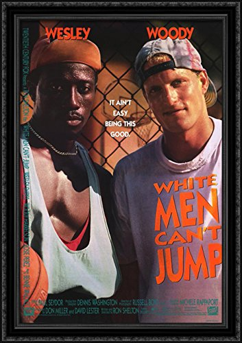 White Men Can't Jump 28x40 Large Black Ornate Wood Framed Canvas Movie Poster Art