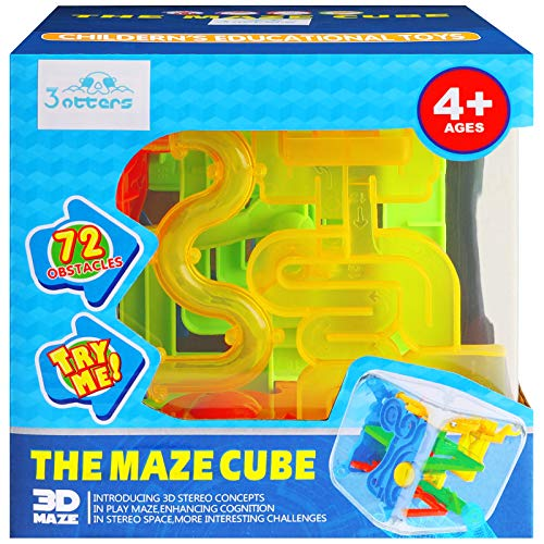 3 otters 3D Puzzle Maze Cube, 72 Obstacles Puzzle Cube Interactive Maze Game with Education Toy for Kids Adults.