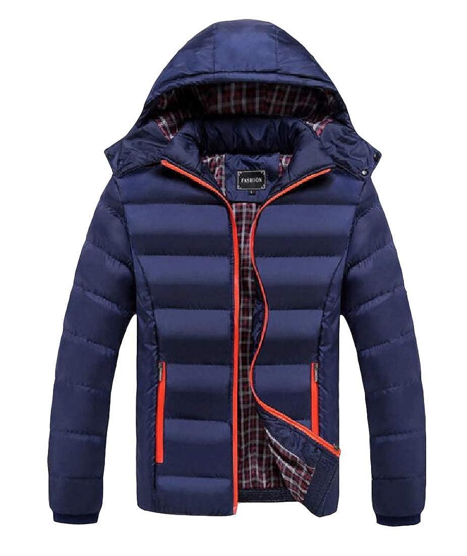 Joe Wenko Men Puffer Hooded Slim Quilted Cotton-Padded Overcoat Parkas Coat