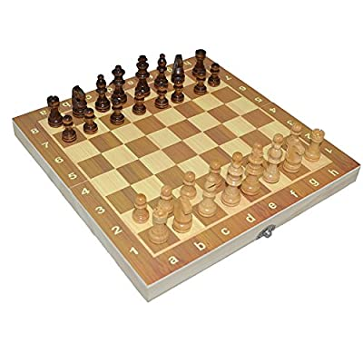 Boliduo Foldable Magnetic Chess Set, Portable Wooden Chess Game Board with Magnetic Pieces (34cm)