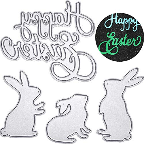 (Yaomiao Happy Easter Letter Cutting Dies and Bunny Rabbit Metal Stencil Template for DIY Scrapbook Album Paper Card Embossing, 4 Pieces)