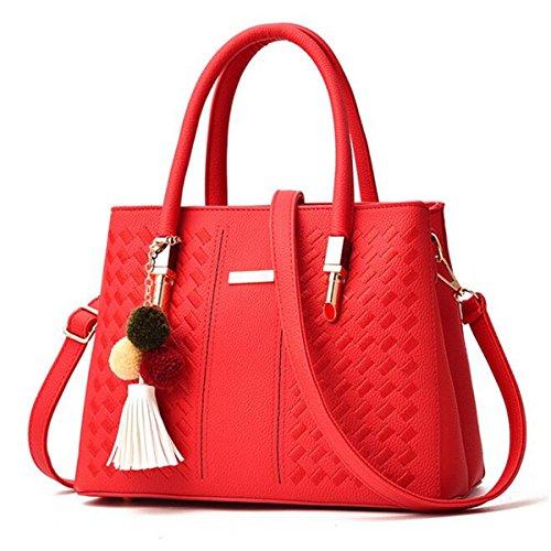 OURBAG Bolso de mujer elegante Bolsa de hombro Totalizador de moda Bolso Crossbody negro-blanco Rojo