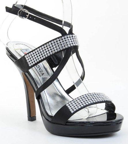 Fourever Funky Women's Satin Jeweled Strappy Anklet Platform Heels Black IcLs6I