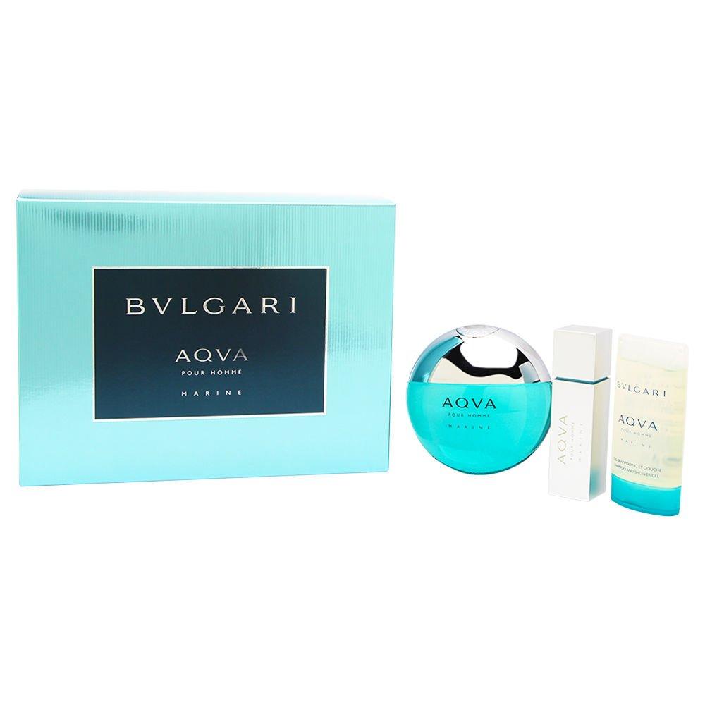 Bvlgari AQVA Marine Pour Homme by Bvlgari 3 Piece Set Includes: 3.4 oz Eau de Toilette Spray Spray + 0.5 oz Eau de Toilette + 2.5 oz Shampoo & Shower Gel