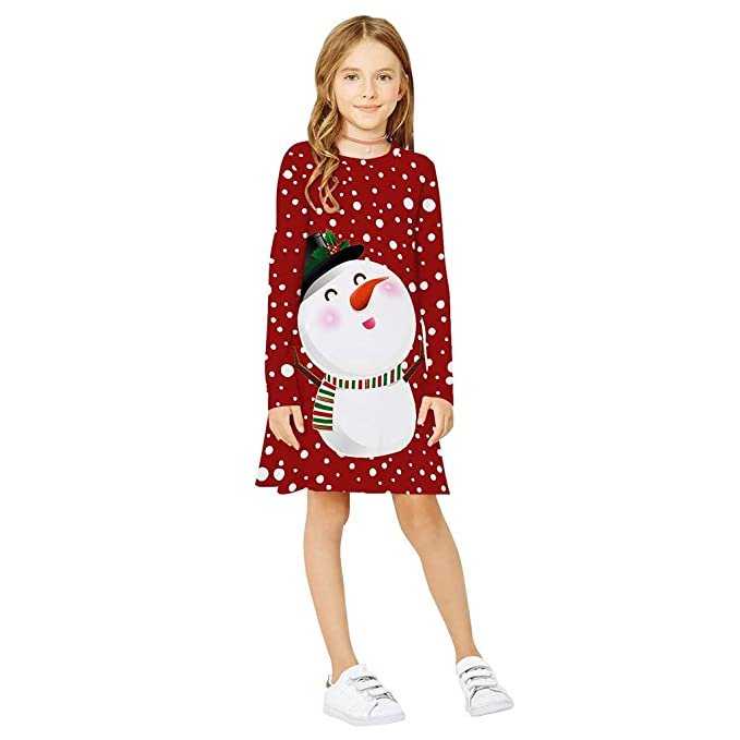 Baiomawzh Vestidos Navidad Manga Larga Niñas Vestido de Princesa ...
