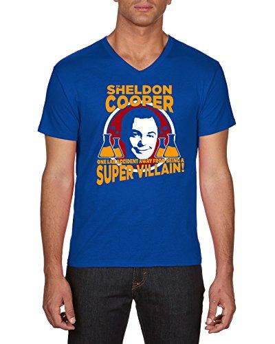 Touchlines Sheldon Super Villain, Camiseta para Hombre Azul (Royal 09)