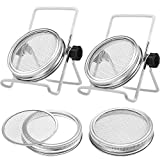 Skylety 4 Pack Stainless Steel Sprouting Jar Lid with 2 Pack Stainless Steel Sprouting Stands for Wide Mouth Mason Jars Canning Jars to Make Sprout