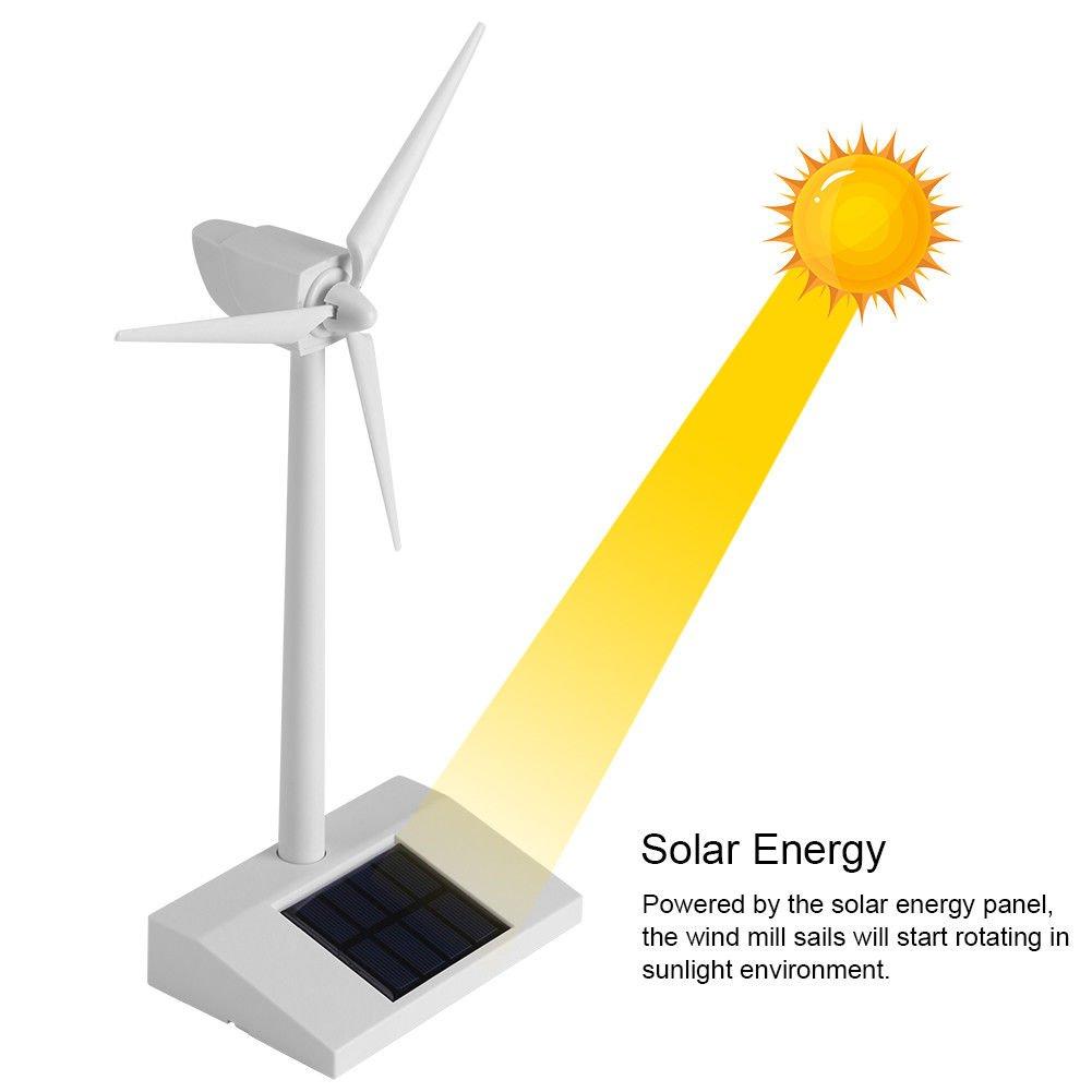 ixaer Mini Solar Power Windmill Desktop Educational DIY Model Solar Mill Toy for Children Science Teaching Wind Turbines Gift for Kids Decor Home Garden