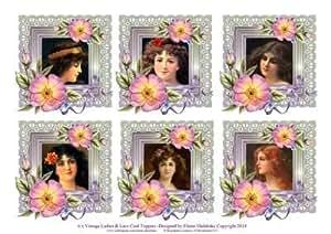 6x Vintage Ladies rosas y encaje de felicitación adornos por Elaine Sheldrake