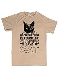 Push You Infront of Zombies Walking Dead Cat Funny Slogan T Shirt Tee