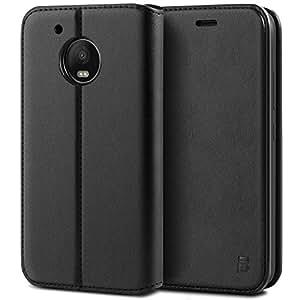 BEZ Funda Moto G5 Plus, Carcasa Compatible para Motorola Moto G5 Plus, Libro de Cuero con Tapa y Cartera, Cover Protectora con Ranura para Tarjetas y Billetera, Cierre Magnético, Negro