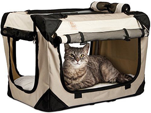 PetLuv Soothing Happy Cat Premium Soft Sided Cat Carrier & Travel Crate - Locking Zippers, Plush Nap Pillow, 2X Interior Room, Airy Windows, Sunroof - Reduces Anxiety (20