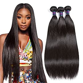 Brazilian Virgin Human Hair Stright 3 Bundles 10A 100% Unprocessed Brazilian Hair Weave Extensions Natural Color(100g±5g Each Bundle)