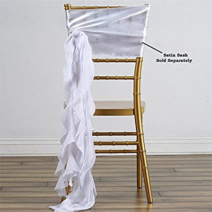 Amazon balsacircle 10 white curly chiffon chair sashes bows balsacircle 10 white curly chiffon chair sashes bows ties wedding party ceremony reception decorations cheap junglespirit Gallery