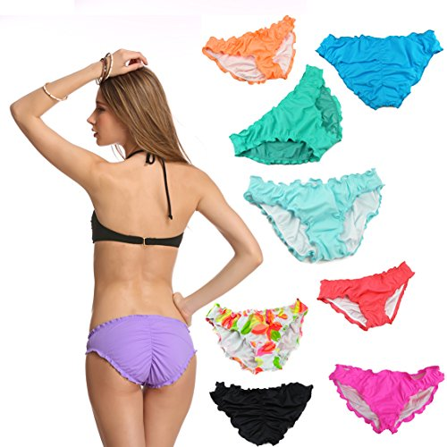 Malinsa Women's Ruffle Wavy Victoria Bikini Bottom Low Rise Hipster Allure Swimsuit Medium Red Victoria Swim Bottom