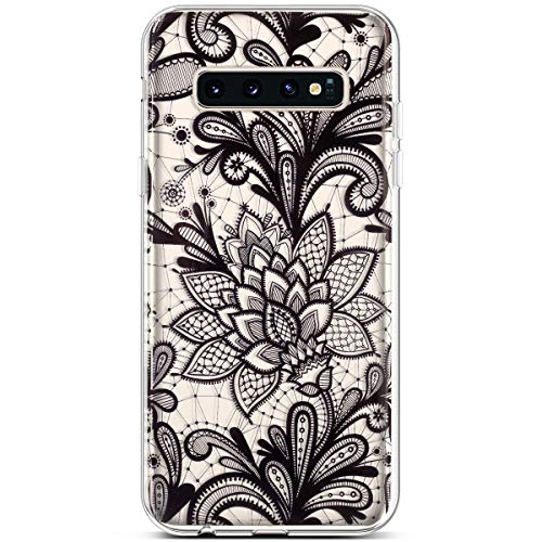 PHEZEN for Samsung Galaxy S10 Case,Clear Soft Flexible TPU Silicone Case Rubber Skin with Art Painted Design Transparent Shockproof TPU Bumper Protective Case for Galaxy S10, Black Lace ()