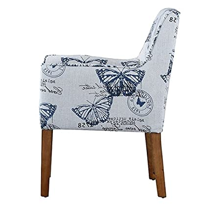 Modern Linen Upholstered Armchair with Blue Butterfly Pattern and Wood Legs  Accent Chair Antique Wood Vintage - Amazon.com: Modern Linen Upholstered Armchair With Blue Butterfly
