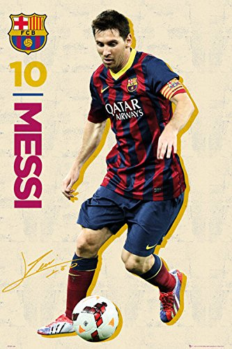 Lionel Messi FC Barcelona Soccer Action Poster Print 24 by 3
