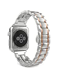 Apple Watch Band Series 1 Series 2, MoKo Stainless Steel Metal Replacement Smart Watch Strap Bracelet for Apple Watch 42mm All Models - SILVER & Rose GOLD (Not Fit iWatch 38mm 2016)