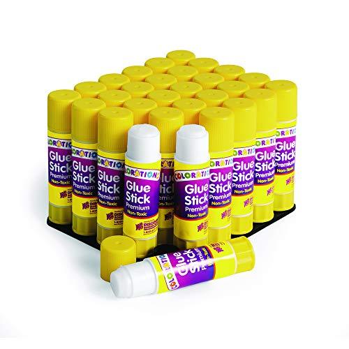 Colorations PRESML Washable Premium Glue Sticks, White (Pack of 30)