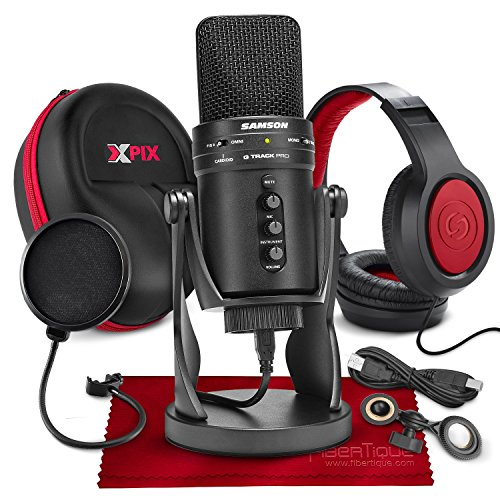 (Samson G-Track Pro Professional USB Condenser Microphone with Samson Headphones and Hardbody Headphone Case Accessory Bundle)