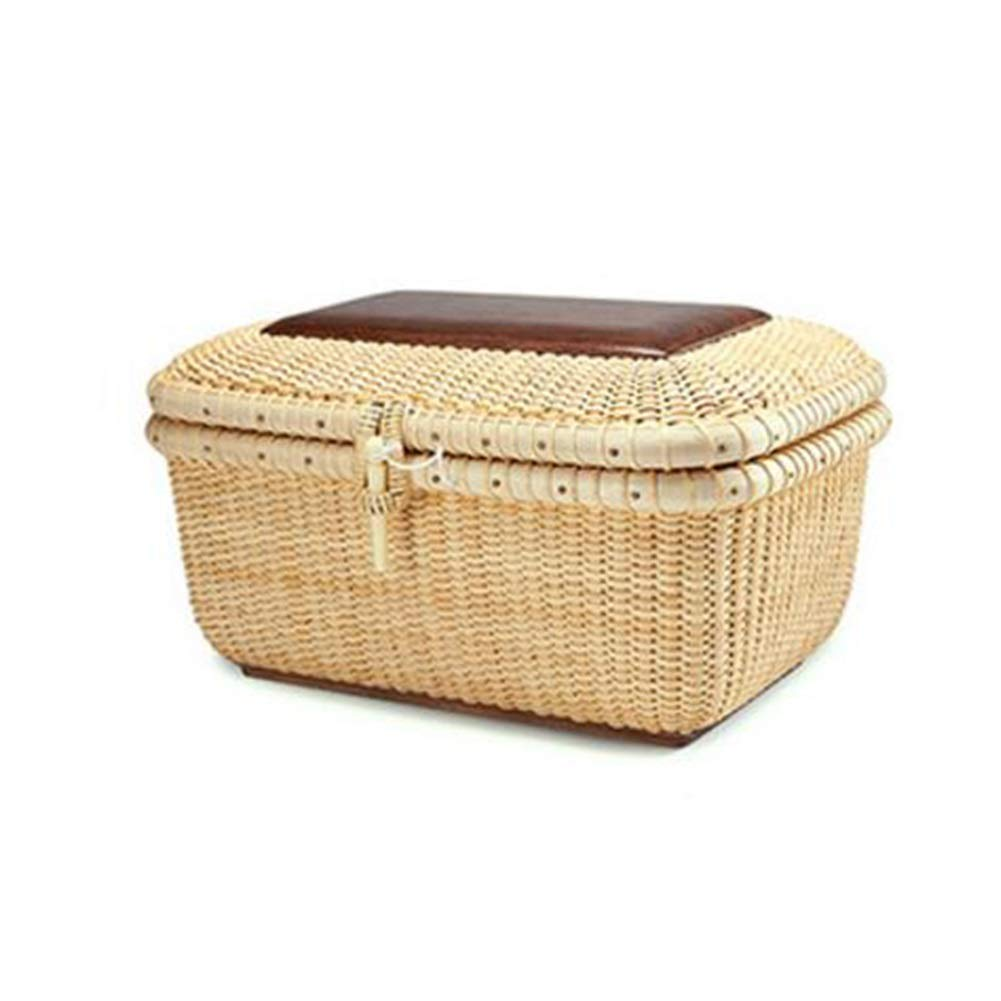 T1 26x15x18cm MUMA Storage Basket Handicraft Woven Wooden with Lid Desktop Picnic Organizer Container (color   T1, Size   26x15x18cm)