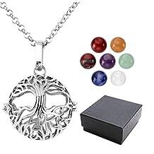 Top Plaza 7 Chakra 8mm Gemstone Healing Crystal Ball Reiki Locket Pendant Necklace