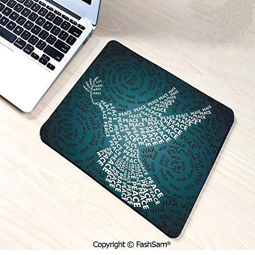 (Non-Slip Rubber Mouse Pads Dove Symbol of Peace Words Over Stop The War Warfare Theme Abstract Art for Computers Laptop Office(W7.8xL9.45))