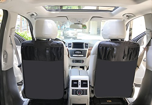 2 Pack Kick Mats With Tissue Holder Waterproof Car Seat Back Protector With Organizer Storage Pocket Universal Fit By Termichy