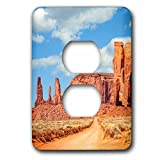 3dRose DanielaPhotography - Landscape, Nature - On the road through Monument Valley, Navajo Tribal Park, USA. - Light Switch Covers - 2 plug outlet cover (lsp_282007_6)