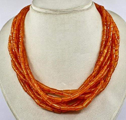 8 Line Natural Orange Carnelian Fancy Tube Beads Necklace 23 INCHES 13 MM to 7 MM by Gemswholesale