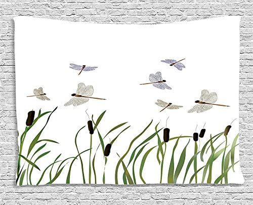 Ambesonne Dragonfly Tapestry, Flying Small Dragonflies Over Tall Reeds Botanical Environmental Graphic, Wide Wall Hanging for Bedroom Living Room Dorm, 60 X 40 , Purple Green