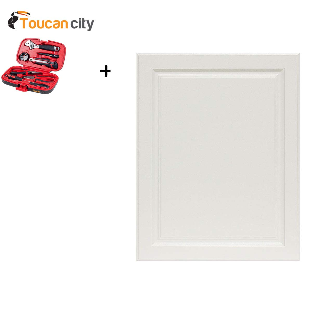Toucan City Tool Kit (9-Piece) and Hampton Bay 0.71x29.37x23.05 in. Hampton Base Cabinet Decorative End Panel in Satin White KAEP2430-SW